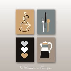 Modern Kitchen Art Prints Coffee Utensils Hearts Black Neutral White Grey Beige Kitchen Artwork Set of Unframed Prints or Canvas beauty black Kitchen Canvas Art, Kitchen Art Prints, Kitchen Artwork, Wall Art Prints, Kitchen Decor, Kitchen Design, Diy Canvas Art, Diy Wall Art, Wall Art Decor