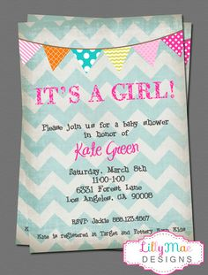 Chevron Baby Girl Shower Invitation  It's a by LillyMaeDesigns, $13.00 @Sara Eriksson-Hope Westmoreland