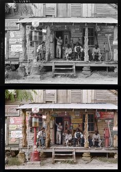 Amazing what a little colour can do... Revival of old pictures -> 'Old-Gold',-Country-store,-1939-photo-chopshop-original