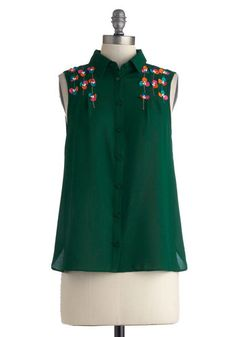 Spunky Spirit Top - Mid-length, Green, Solid, Buttons, Sleeveless, Collared, Multi, Embroidery, Flower, Work, Casual, Button Down, Sheer, Fo...