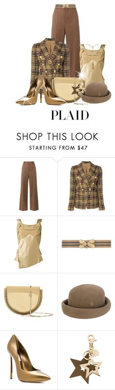 """Expand Your Plaid Horizons"" by shamrockclover ❤ liked on Polyvore featuring Chloé, Tagliatore, Maison Margiela, N°21, Paco Rabanne, Maison Michel, Casadei and See by Chloé"
