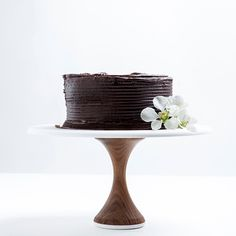 Hardwood Walnut Cake Stand: Thin Base by AHeirloom