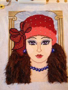Stitched by Amalia, needlepoint face