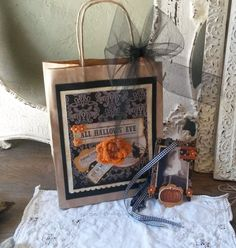 Halloween gift bag with Tag Kraft paper treat bag by PaperAndMache, $12.00