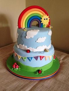 More in my website Rainbow birthday cake . Rainbow birthday cake More Cakes. 1st Birthday Cakes, Rainbow Birthday Party, 4th Birthday, Birthday Ideas, Torta Angry Birds, Bolo Fack, Cloud Cake, Pony Cake, Gateaux Cake