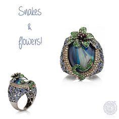 Snakes & Flowers! #WendyYue, #18K, #Snake, #Flower, #Ring, #Diamonds, #Sapphires, #Tsavorites, #Opal, #Jewelry, #Jewellery