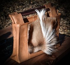 Leather handbag- rectangle/color-tanned/real springbook fur by gajakp on Etsy Natural Leather, Leather Handbags, Fur, Fancy, Tote Bag, Metal, Color, Leather Purses, Colour