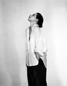 Michel Comte - Isabella Rosellini  and a white shirt