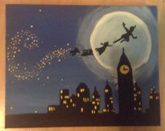 Peter Pan Flying Over London Painting