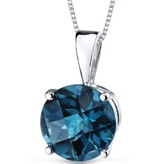 This beautiful 14-karat white gold gemstone pendant is a great addition to your wardrobe. It includes a matching sterling silver box chain and comes in a variety of color and gemstone options. One pro