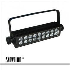 Blizzard SnowBlind™ LED strobe with 18x 3-watt bright white LEDs. 3-DMX channels, master/slave, sound active, auto modes, aluminum case, LED control panel, var – Lighting and Production Resources is your one stop for all of your stage lighting, LED retrofitting & system installation needs. (407)967-7716
