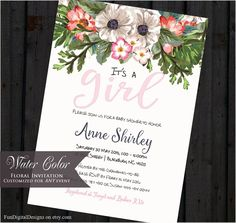 Watercolor Baby Shower Invitation Floral by FUNDigitalDesigns