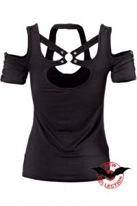 Queen Of Darkness Gothic Top, halterneck and Shoulder Cut-outs