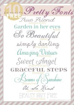 Pretty, elegant fonts | free to download | use for wedding invitations or shower invitations | www.MoritzFineBlogDesigns.com