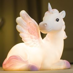 Pink or Purple Unicorn 6 Color LED Kids Nightlight Glow Lamp from Go Get Glam. Saved to For The Love of Unicorns. Unicorn Room Decor, Unicorn Rooms, Unicorn Bedroom, Purple Unicorn, Cute Unicorn, Glitter Bedroom, Glow Lamp, Rainbow Room, Childrens Room Decor