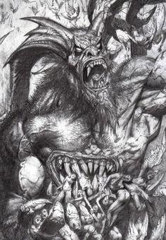 """technochaun: """" Satan devouring souls,paradise lost (detail) by Simon Bisley. """""""