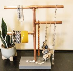 Copper pipe jewelry stand with jewelry. Jewelry Holder Stand, Just Hold Me, Chalk Markers, Wipe Away, Super Glue, Tidy Up, Jewellery Storage, Copper Jewelry, Wood Blocks