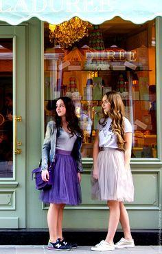 Купить Юбка-пачка из мягкого фатина цвет Засахаренная слива - однотонный, дизайнерская одежда, юбка
