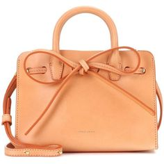 Mansur Gavriel Mini Mini Sun Leather Tote ($530) ❤ liked on Polyvore featuring bags, handbags, tote bags, brown, red leather handbags, leather tote, brown leather purse, leather tote handbags and handbags totes