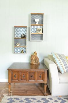 Upcycle Old Drawers into Decorative Shelves - Refresh Living - shared at the Vintage Inspiration Party @ KnickofTime