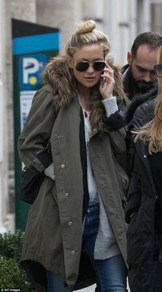Très chic: Kate Hudson stepped out in a fur-lined parka for a shopping trip in Paris, France on Sunday