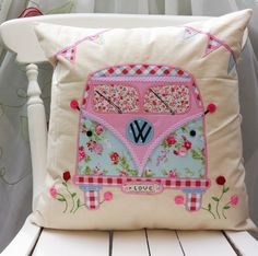 "Camper Van Pillow Cushion cover Cath Kidston Other Fabric Home Décor Unique Handmade Applique Birthday gift 16""x16"""