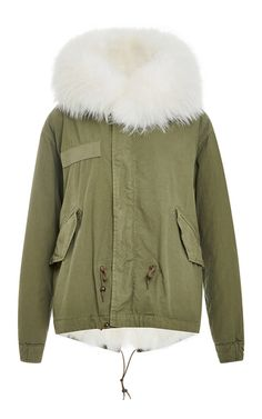Army Fur Lined Mini Parka  by MR & MRS ITALY Now Available on Moda Operandi