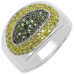 Green and Yellow Diamond Ring in Sterling Silver
