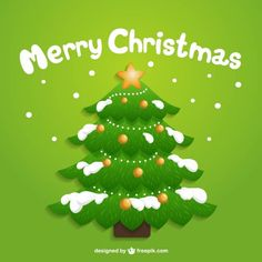 Christmas Tree with Snow Free Vector