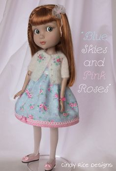"""Blue Skies and Pink Roses"", a handmade ensemble for Wilde Imagination's Patience dolls. c…"