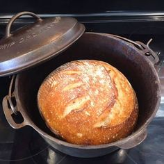 Easy Step-by-Step Artisan Sourdough Bread Recipe - Full of Days - Once desired color is reached, remove bread from oven and transfer to cooling rack. Dutch Oven Sourdough Bread Recipe, Dutch Oven Bread, Sourdough Recipes, Natural Bread Recipe, Levain Bread Recipe, Pioneer Bread Recipe, Recipe Breadmaker, Sourdough Bread Starter, Bread Oven