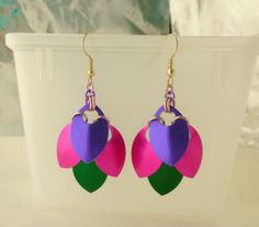 Purple Pink and Green Scale Maille Earrings by EcceRose on Etsy, $10.00