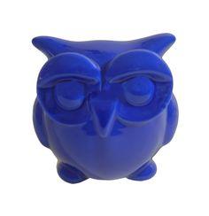 Escultura Coruja Cofre Cerâmica Azul - Gift Express