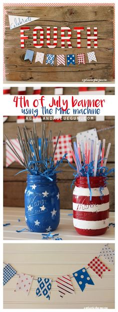 patriotic 4th of July banner and sign using Minc machine from @HeidiSwapp a girl and a glue gun