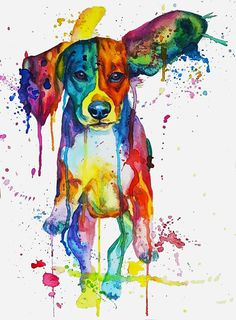 Watercolor Colorful Rainbow Flying Ears Running Beagle, painting dog portrait by Kate Amedeo