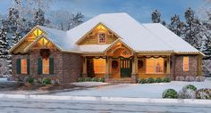 View one of our best selling craftsman ranch house plans dressed in holiday attire. The Sturbridge II-C Plan 4422 is a delightful design with split bedrooms and some flexible living spaces. http://www.thehousedesigners.com/plan/sturbridge-ii-c-4422/