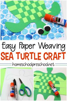 Make a Simple Paper-Weaving Sea Turtle Kids Craft – Amiyrah @ 4 Hats and Frugal – weberei Summer Crafts For Kids, Paper Crafts For Kids, Arts And Crafts Projects, Arts And Crafts Supplies, Projects For Kids, Art For Kids, Fall Crafts, Simple Paper Crafts, Summer Crafts For Preschoolers