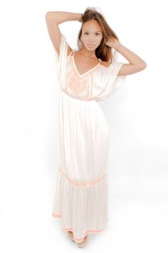 Embroidered Off White & Neon Maxi Dress - Clothes | Maria Morena Wholesale