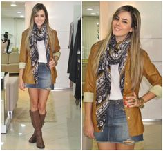 Ideias Fashion, Leather Skirt, Bomber Jacket, Skirts, Jackets, Outfits, Clothes, Style, Jean Skirts