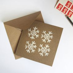Snowflake Linocut Christmas Card by ThePrintPack on Etsy