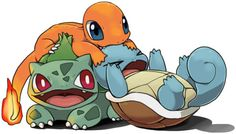 Charmander, Bulbasaur, and Squirtle