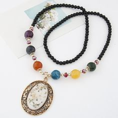 Vintage Hollow Vine Rimmed Gem Pendant Colorful Beads Decorated Long Fashion Necklace