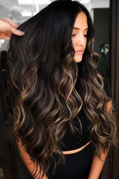 platinum blonde highlights 40 Ideas To Freshen Up Your Hair Color With Partial Highlights, Brunette Blonde Highlights, Black Hair With Highlights, Brown Hair Balayage, Balayage Brunette, Hair Color Balayage, Brunette Hair, Partial Highlights, Black Balayage, Black Highlighted Hair