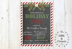 Chalkboard Red Striped Holiday Party Invite by themilkandcreamco Chalkboard Red Striped Holiday Party Invite, Christmas Party Holiday Invite, Chalkboard Printable Digital File Holiday Invite