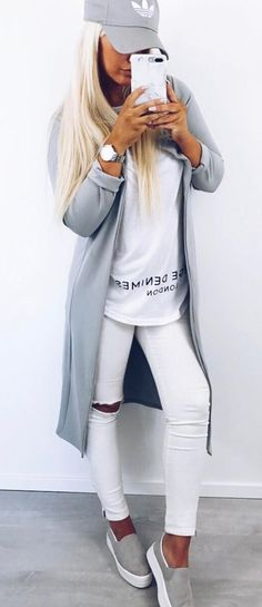 white and grey outfit: hat + cardi + tee + rips + sneakers