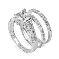 Promise Rings Simple | Sterling Silver Simulated Princess Cut Engagement Ring Wedding Band Set Size 9 RNG101199 -- Click image for more details. Note:It is Affiliate Link to Amazon. #PromiseRingsForHer