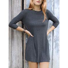 Casual Style Jewel Neck 3/4 Sleeve Stripe Loose-Fitting Women's Dress