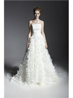 美しいストラップレスチャペルトレーン花ウェディングドレス 25265