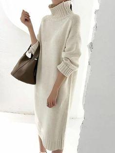 Knit Fashion, Look Fashion, Womens Fashion, Fashion Design, Winter Fashion Outfits, Modest Fashion, Autumn Fashion, Winter Dresses, Casual Dresses