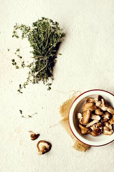 thyme and mushrooms